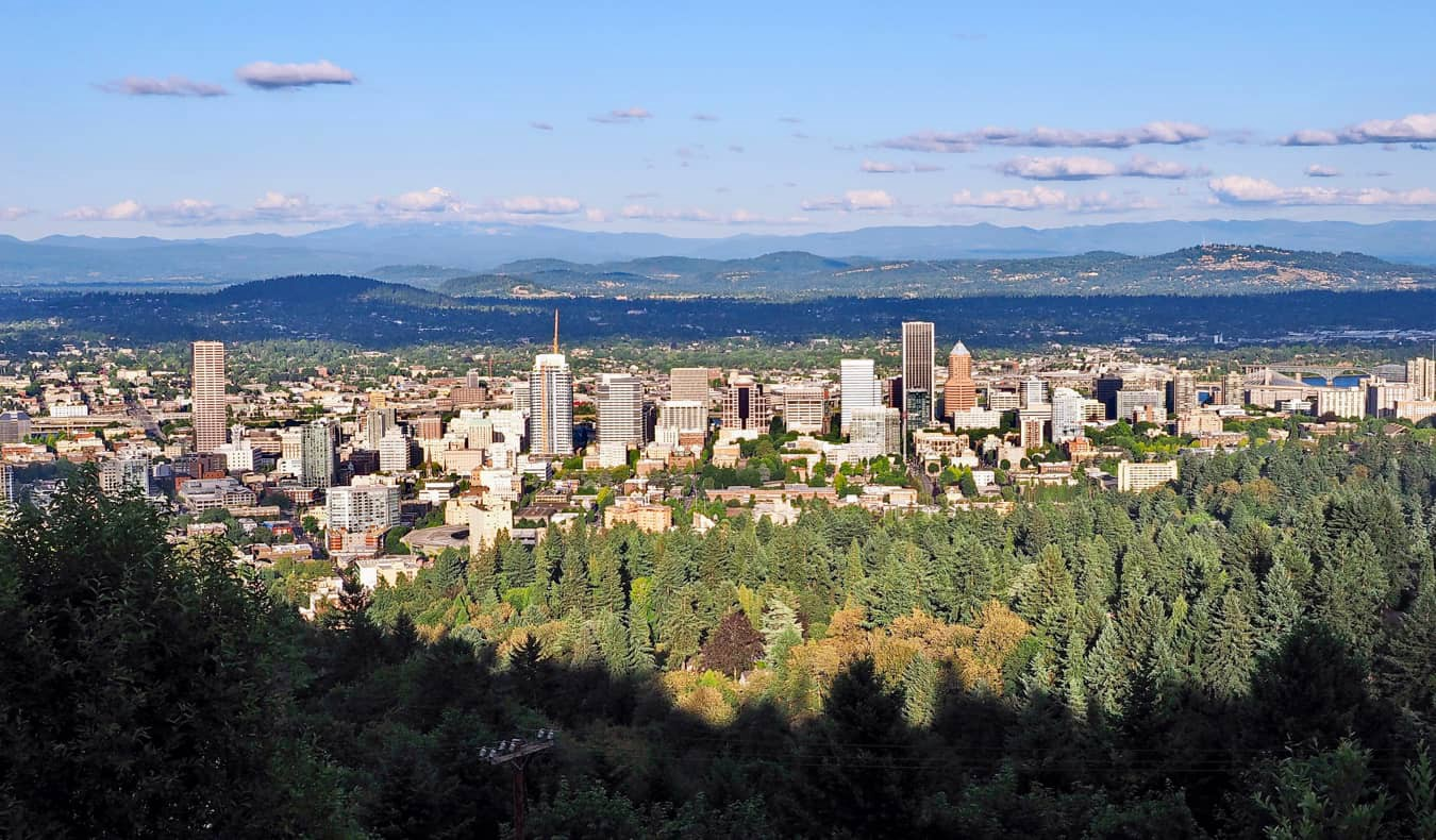The view overlooking the city of Portland, Oregon