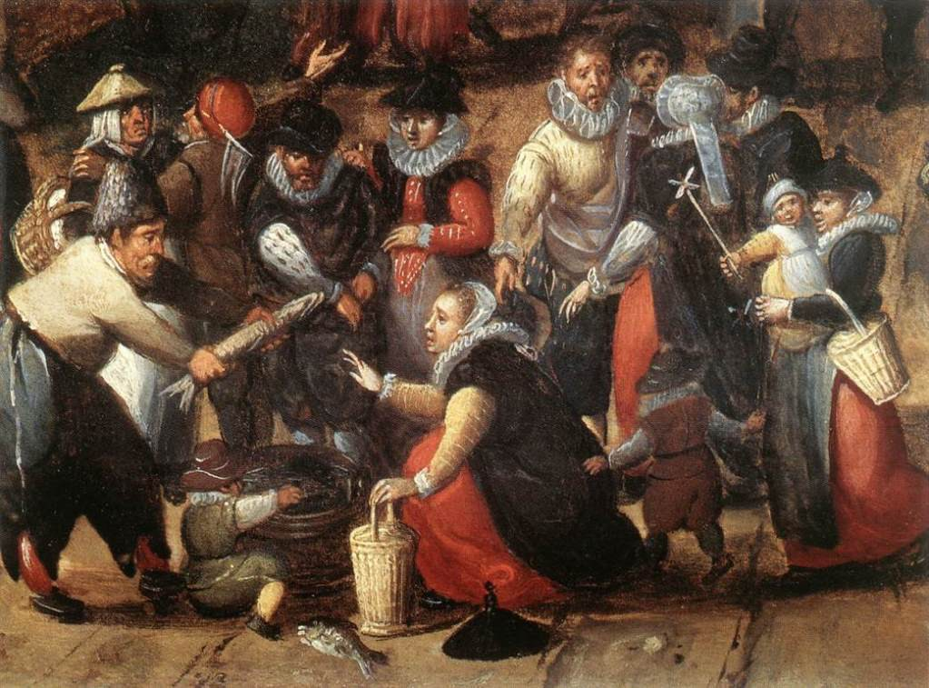 detail of late 16th century painting The Village Feast by Hans Bol showing a gathering of men, women and children haggling
