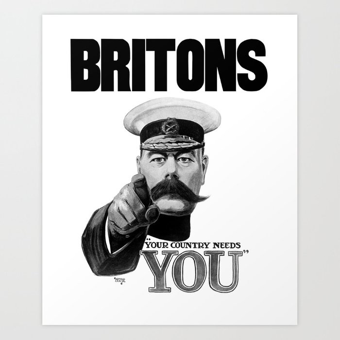 A 1914 recruitment poster showing Lord Kitchener pointing to the viewer, with the caption 'Britons, Your Country Needs You'