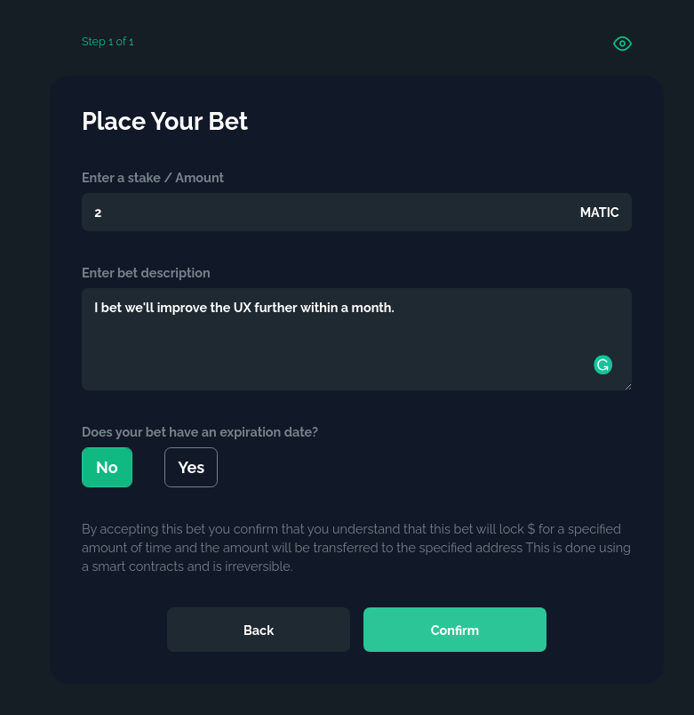 Setting the value and crafting the bet conditions
