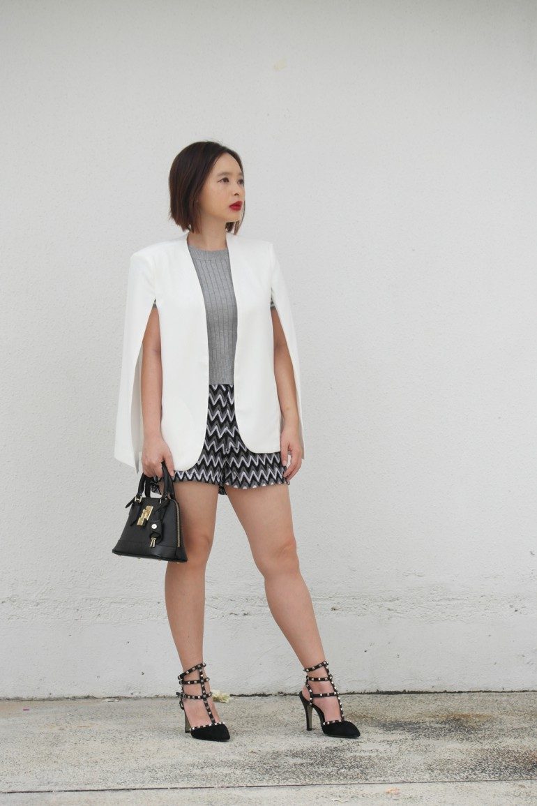 a174f23d7ab SheIn White Cape Blazer — Review — Popular Fashion and Style Blog ...
