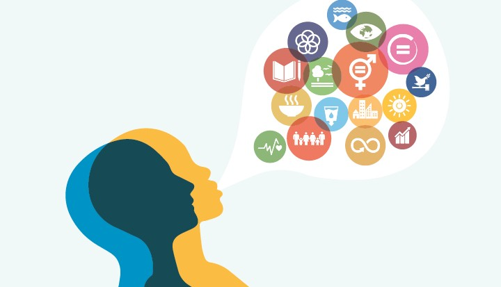 digital graphic of a silhouette of a person with a speech bubble filled with icons such as: health, gender, education, financ