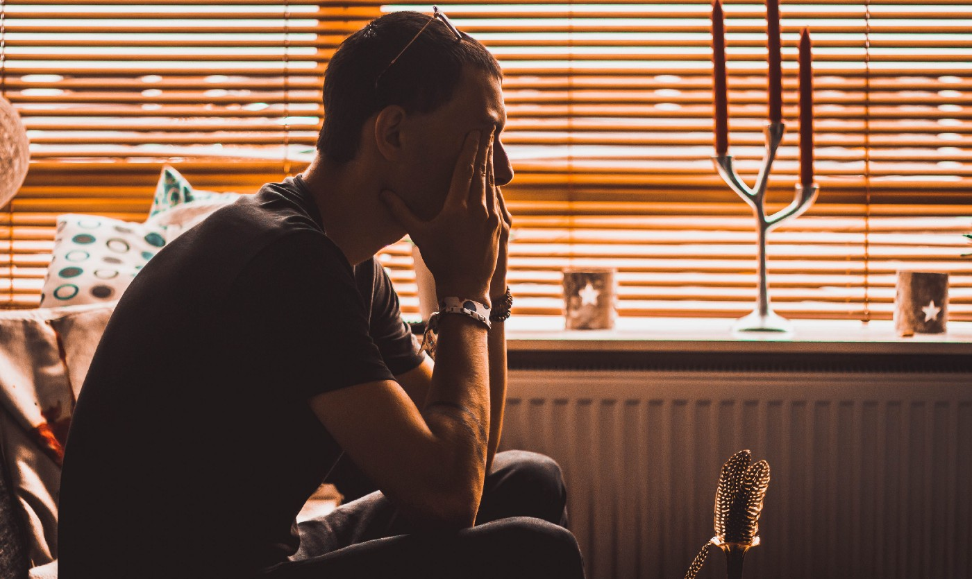 frustrated entrepreneur whose mental health has been compromised by his startup