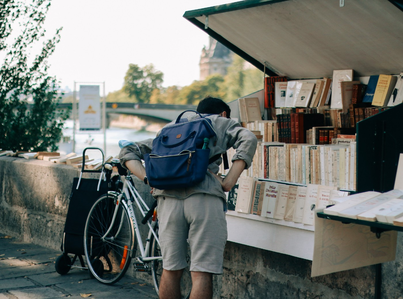 reading list. display of books at an outdoor bookseller