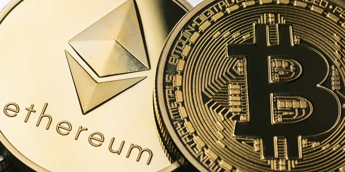 Gold-plated Bitcoin and Ethereum coins