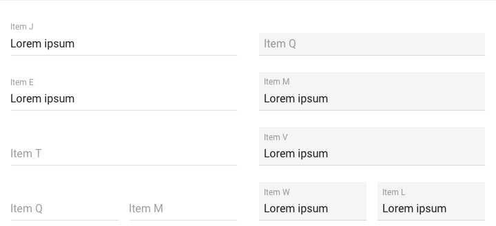 sample filled and empty text fields