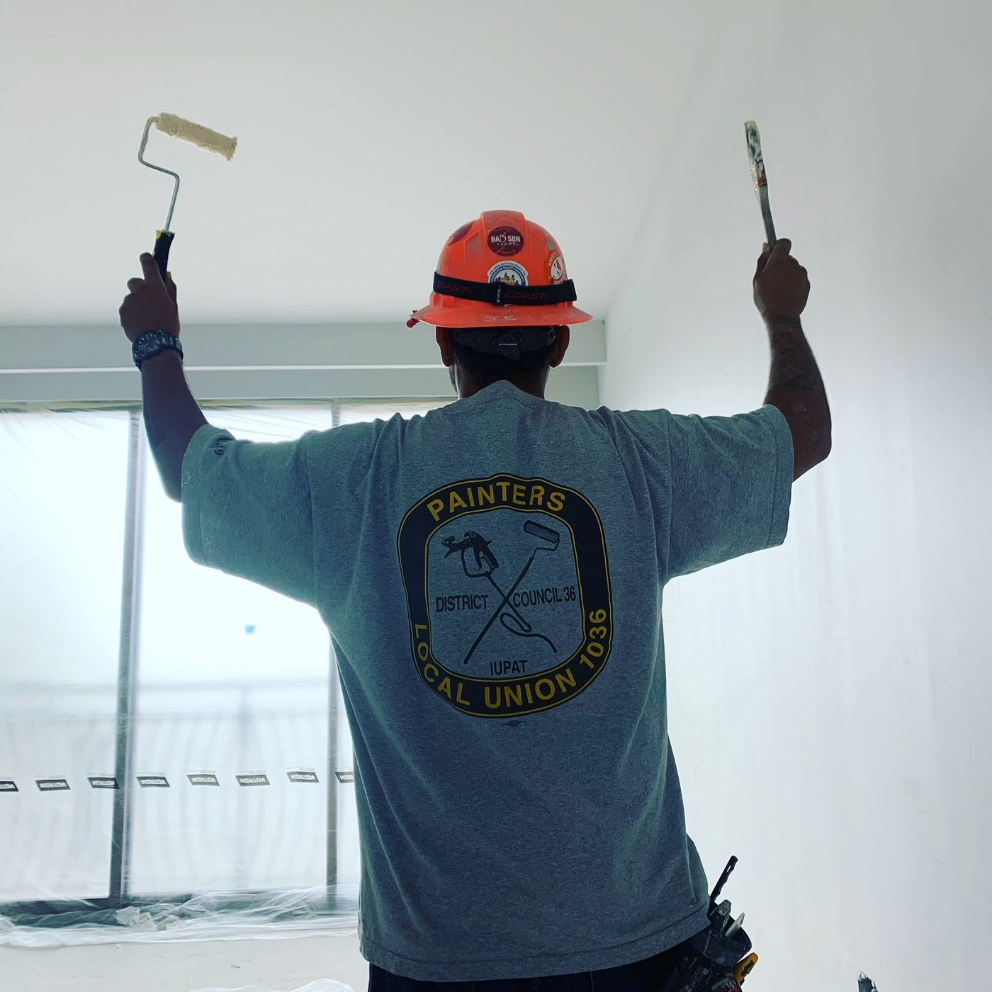 Pictured: ARC member Richard Meza on a worksite as a member of Painters Local Union 1036