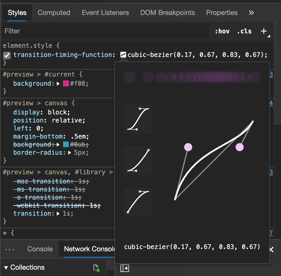 Cubic Bezier tool in developer tools