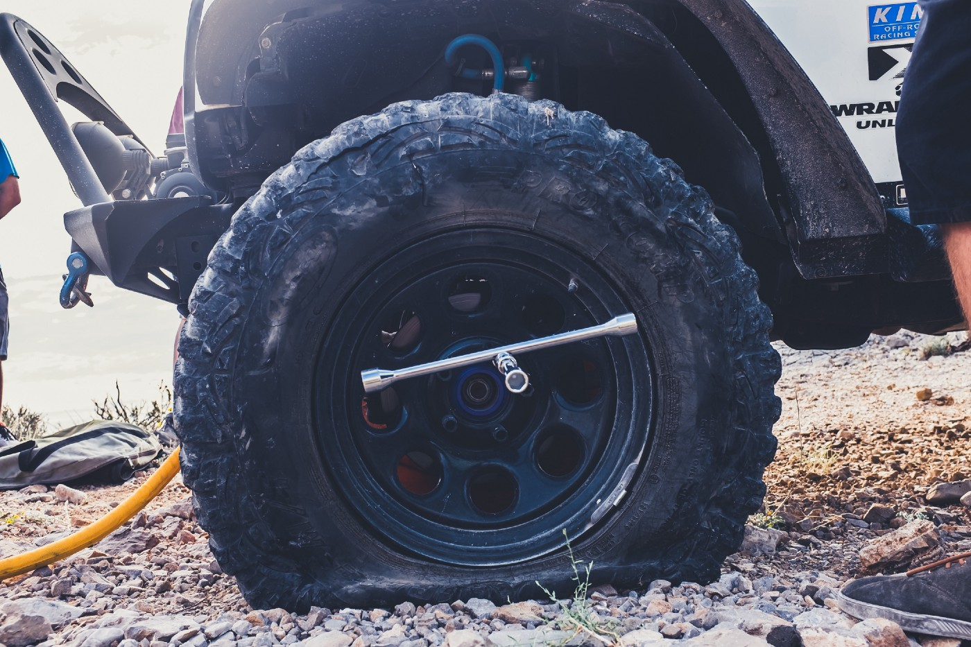 A flat tire with a gauge