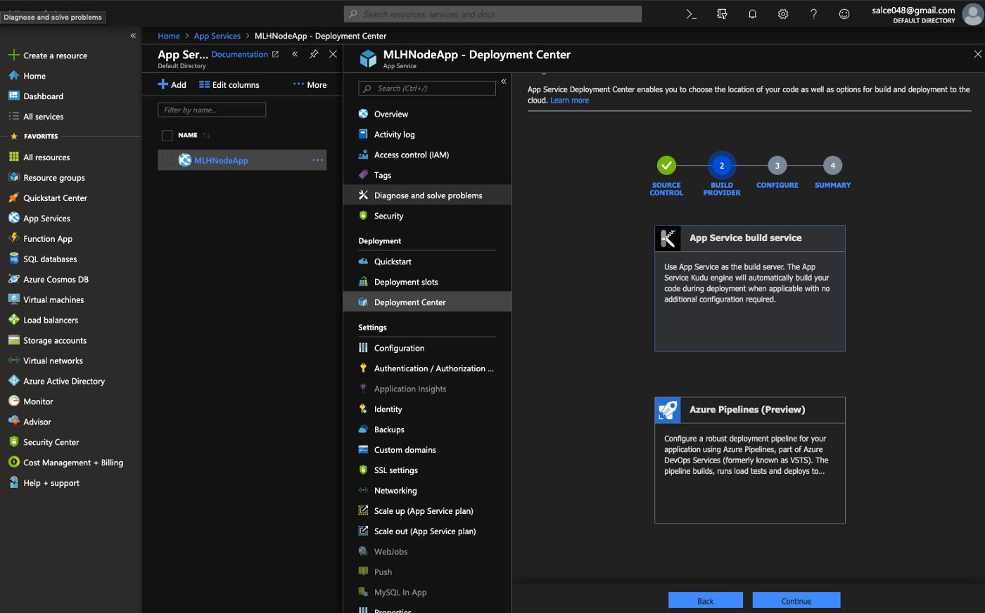 Configuring Continuous Deployment with GitHub through Azure App Services
