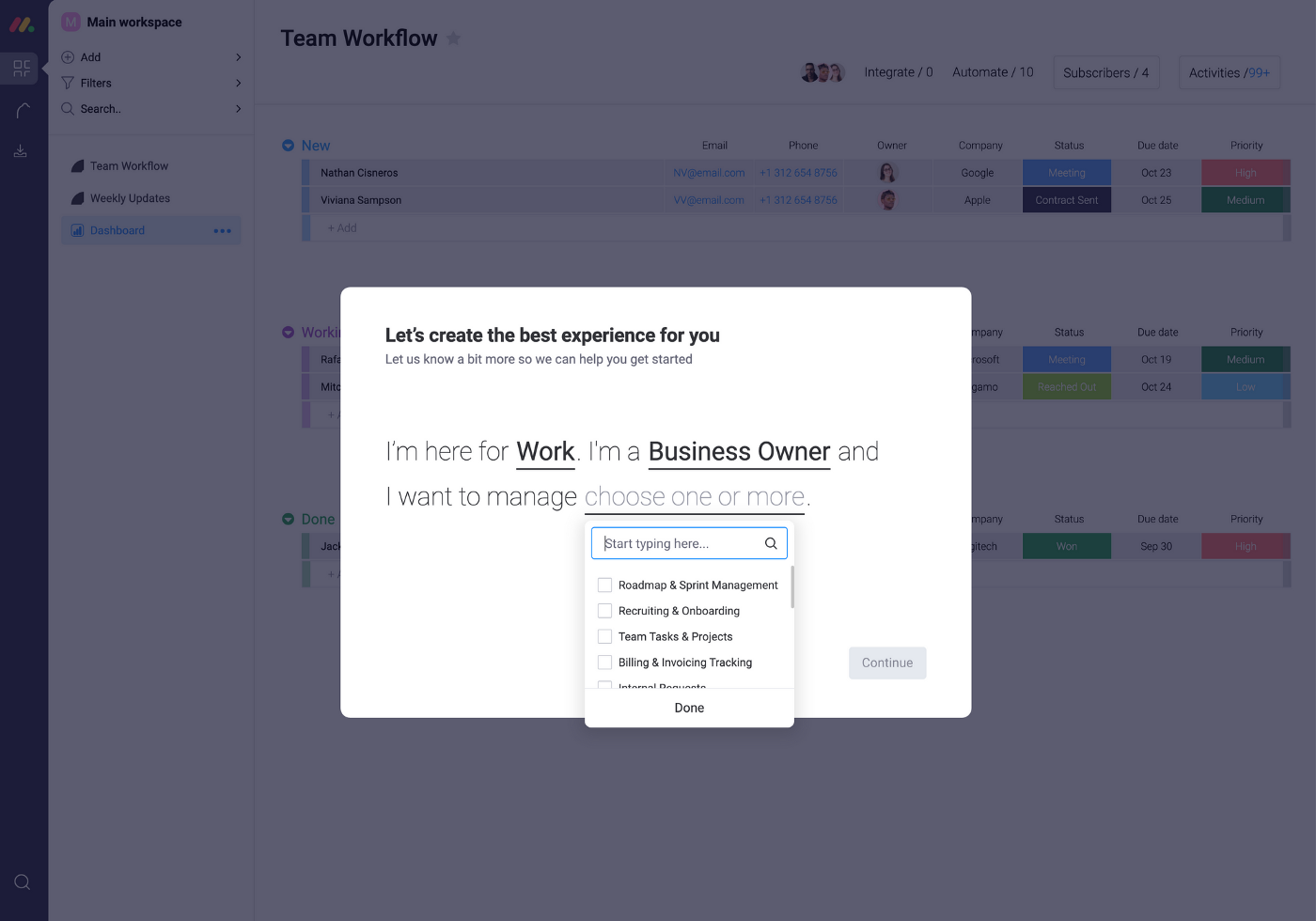 want to manage step in Asana saas micro-survey template