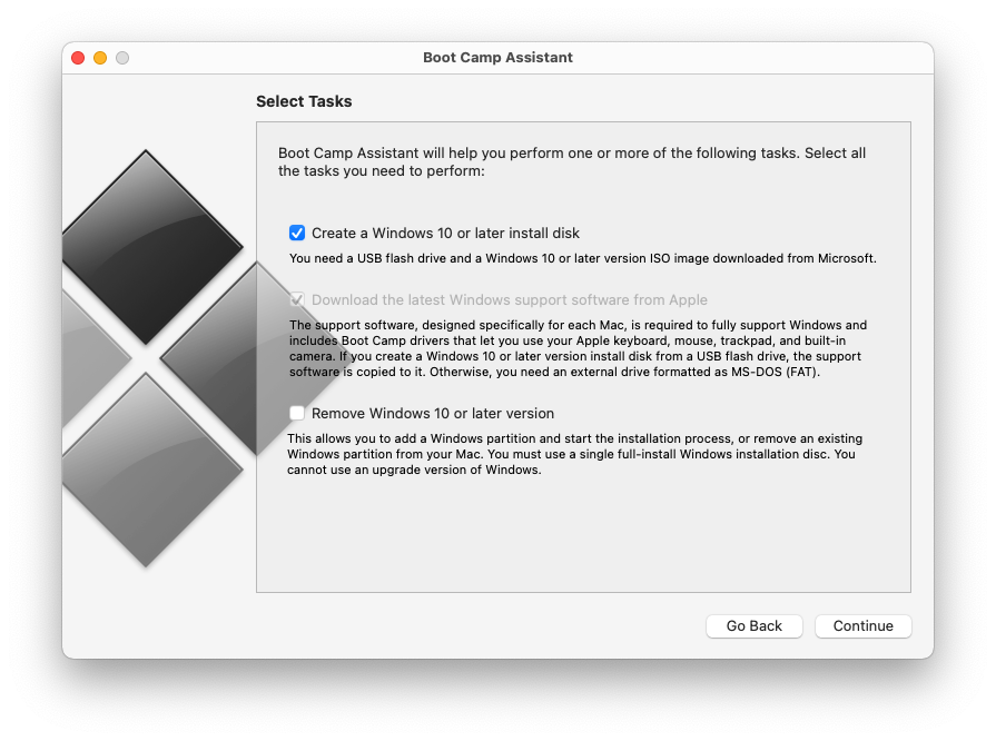 Create a Windows 10 or later install disk with Boot Camp Assistant