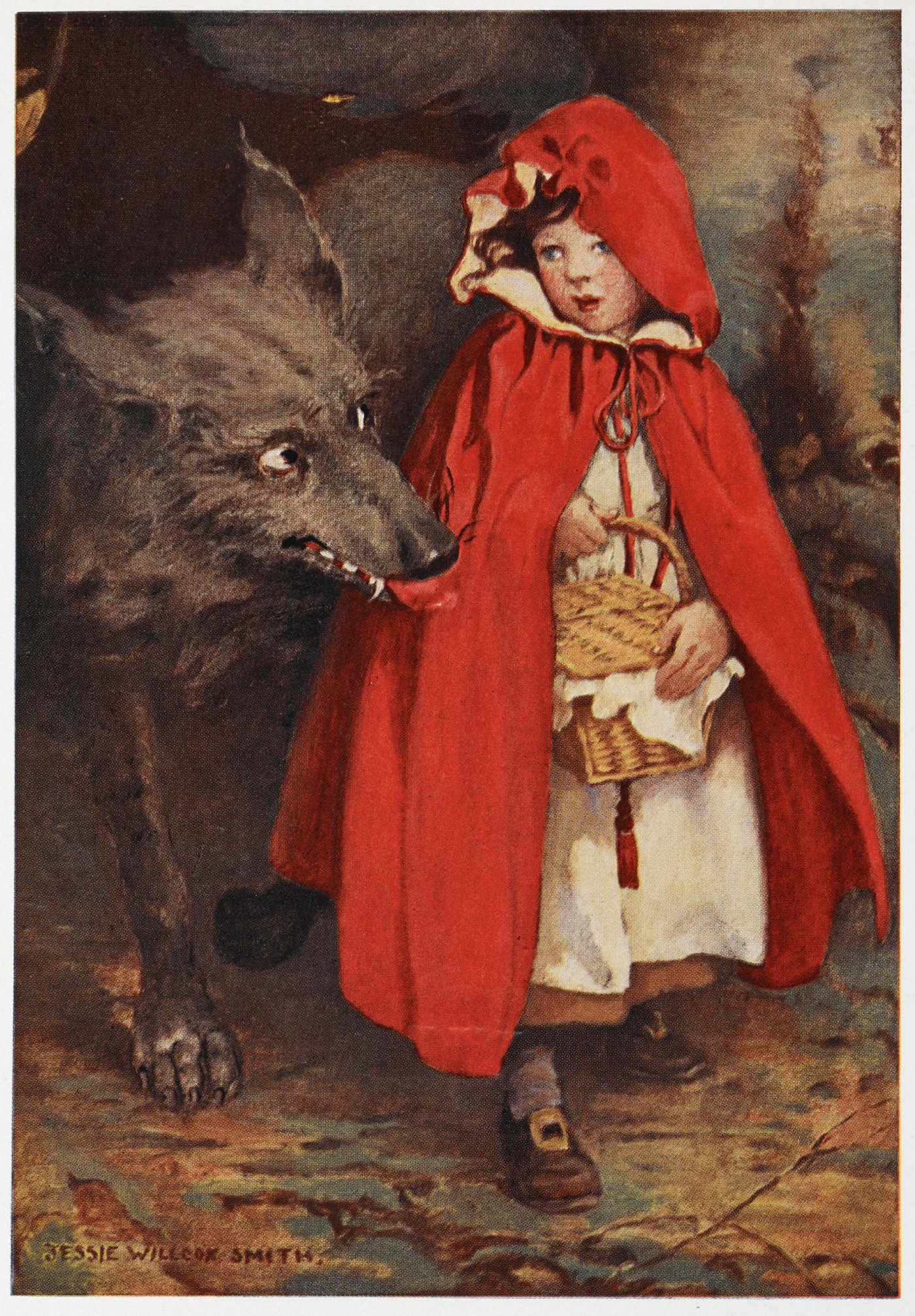 Illustration by J. W. Smith of little red riding hood being approached by the wolf.