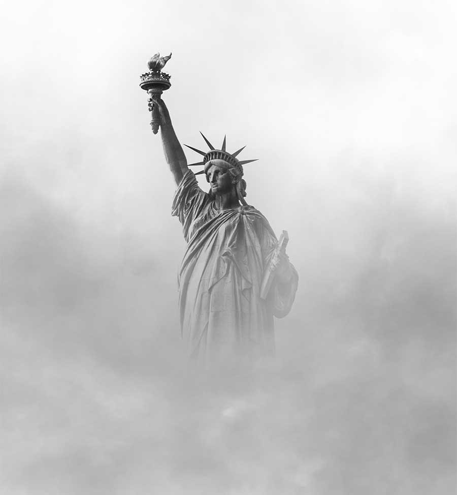 Statue of Liberty in dense fog