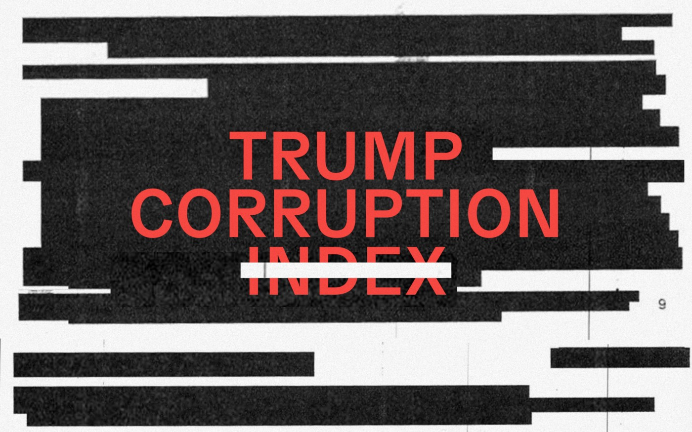 "Text ""Trump Corruption Index"" juxtaposed on top of a series of redacted black bars"