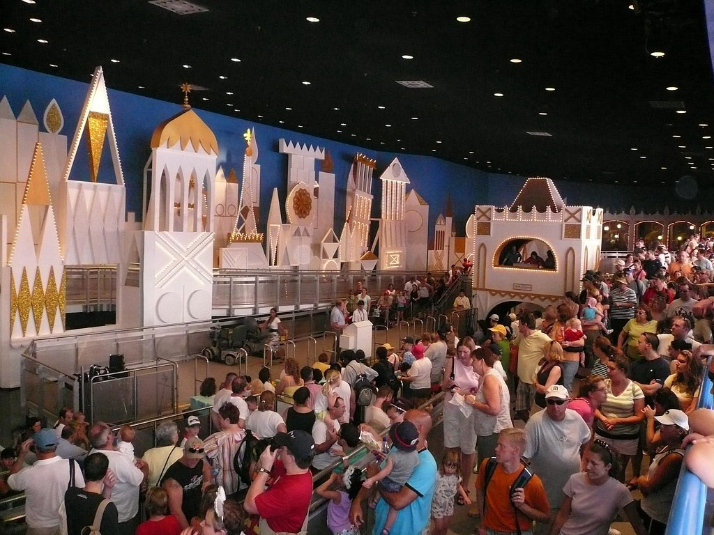 Queue for Walt Disney World's 'it's a small world.' Image by Michael Gray: https://www.flickr.com/photos/kathika/2601484170. CC BY-SA: https://creativecommons.org/licenses/by-sa/2.0/