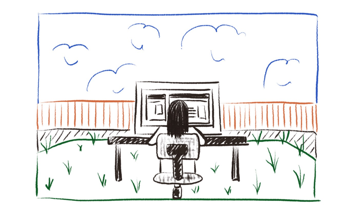 Illustration of woman sitting at a desk working in her backyard.