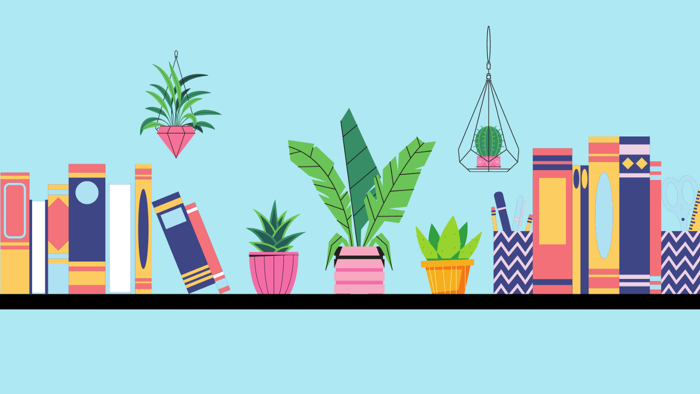 Three houseplants in vases are on a bookshelf surrounded by books. Two hanging plants are seen above the books.