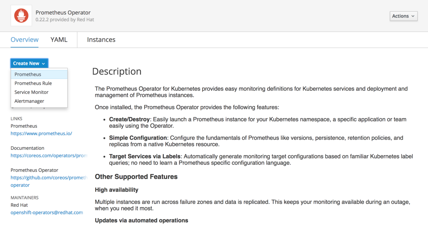 Using the Operator Lifecycle Manager to deploy Prometheus on OpenShift