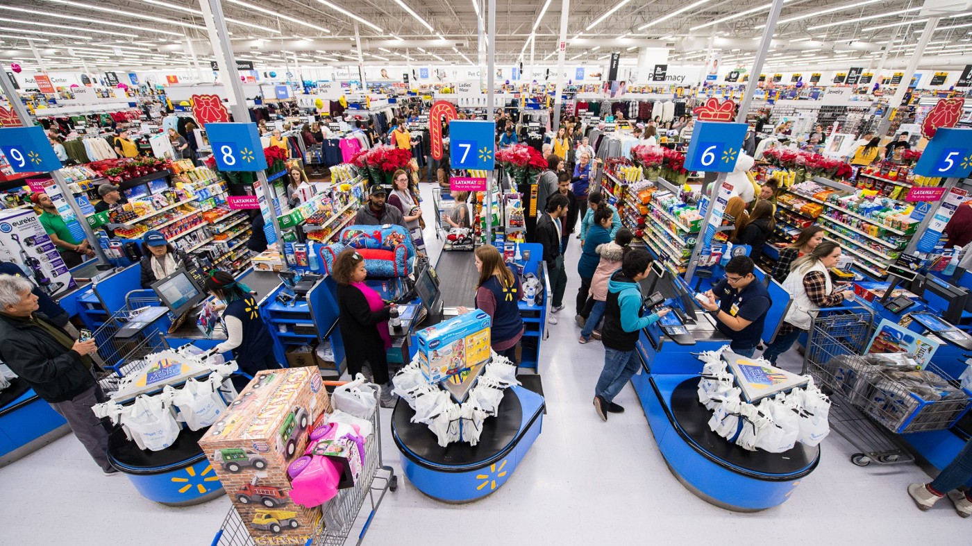 Large queues at a Walmart store