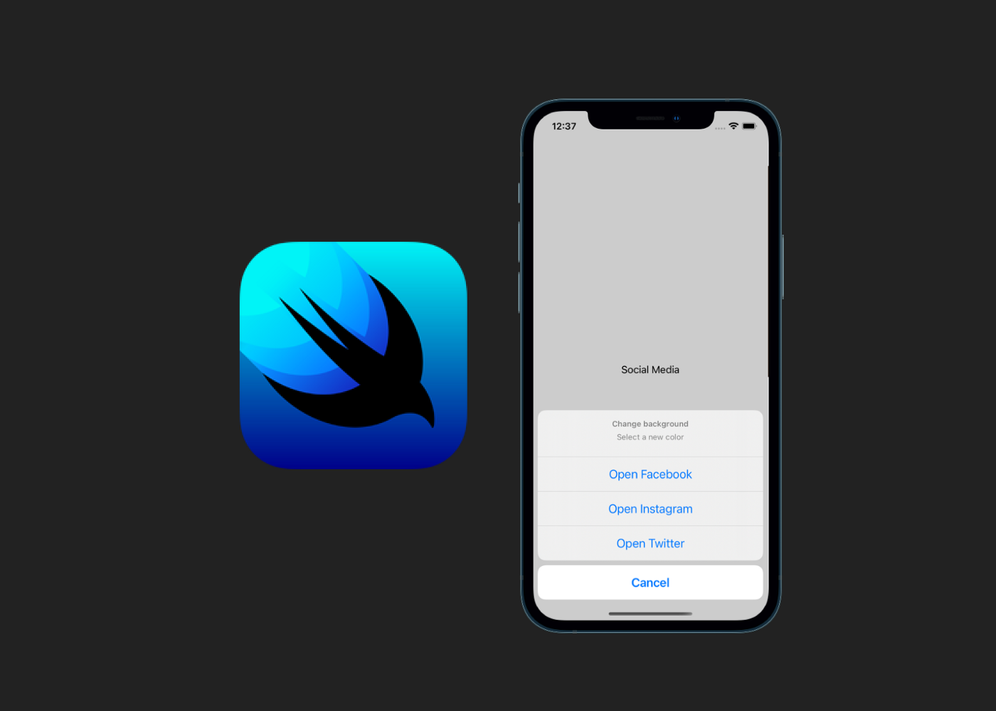SwiftUI logo with an iPhone displaying an Action Sheet