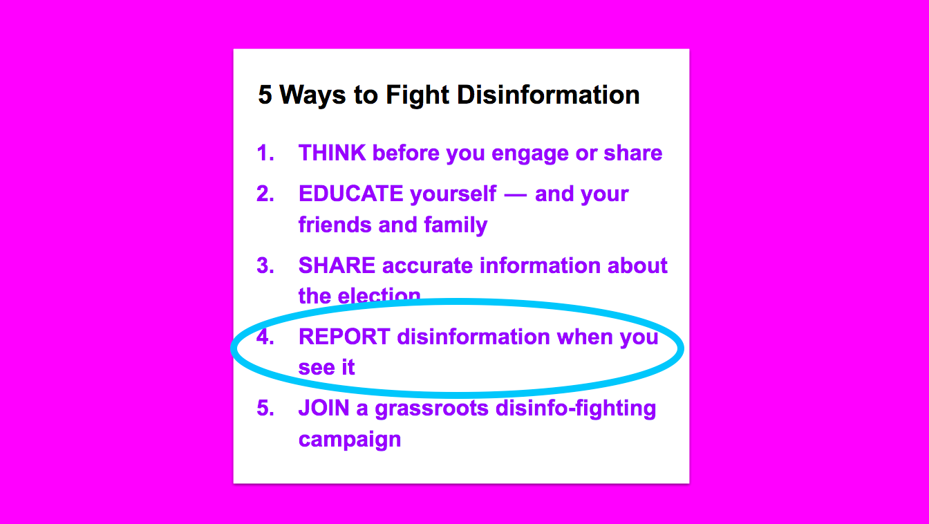 "5 Ways to Fight Disinformation, with a circle around ""Report disinformation when you see it"""