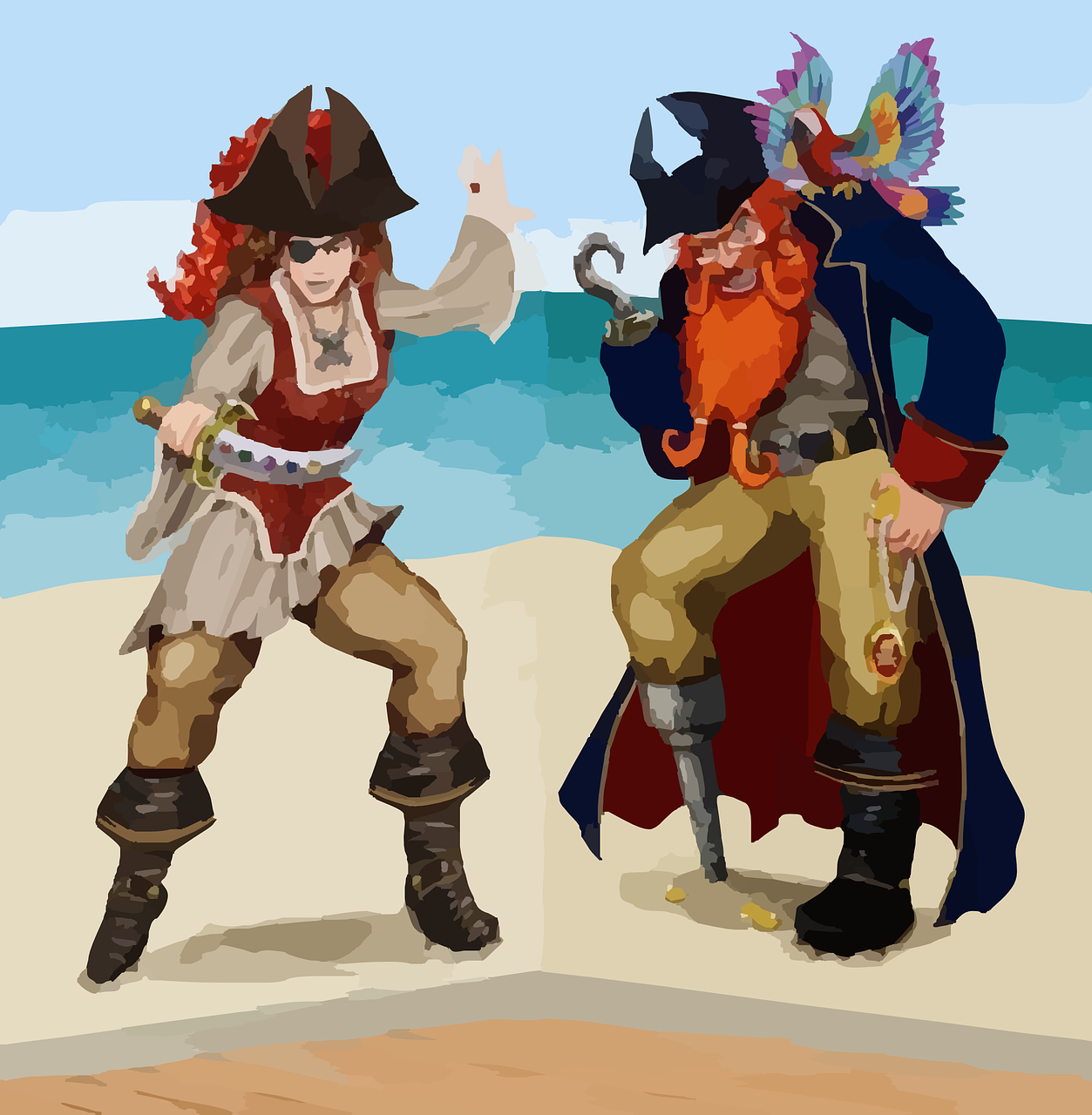 Drawings of a muscly redheaired female pirate on the left and a red-bearded peg-legged male pirate on the right, standing on a sandy beach with ocean in the background.