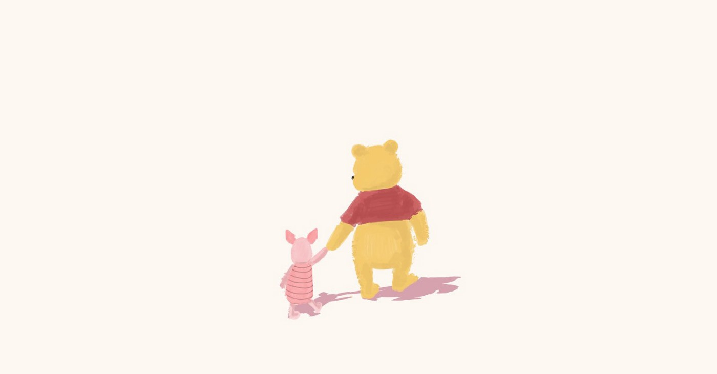 Winnie the Pooh and Piglet walking and holding hands