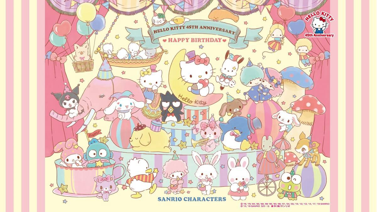 Sanrio characters wallpaper for Hello Kitty 45th anniversary