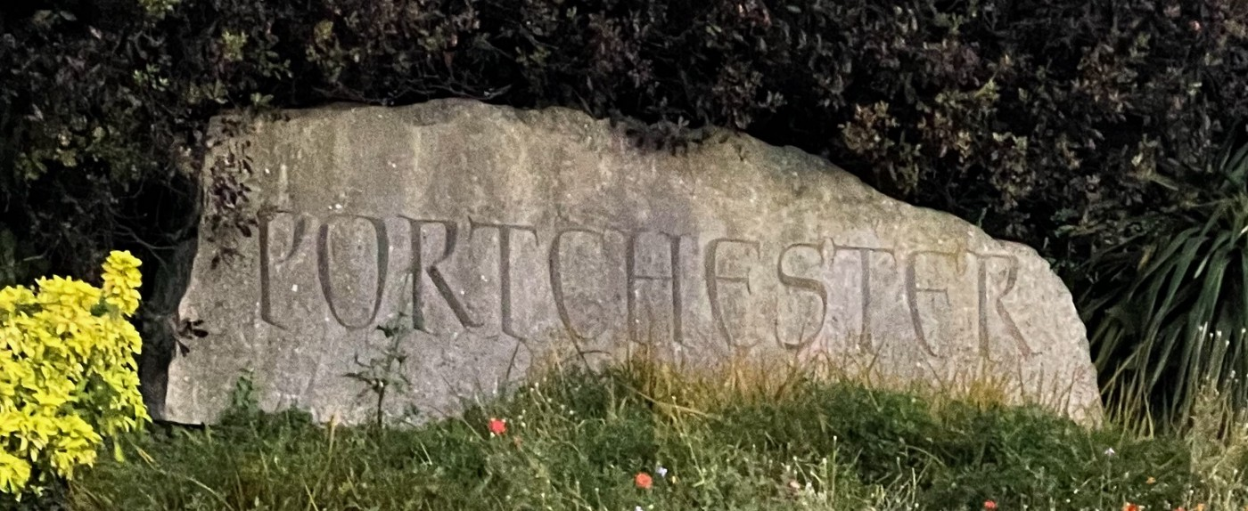 Portchester—carved in stone at the village entrance