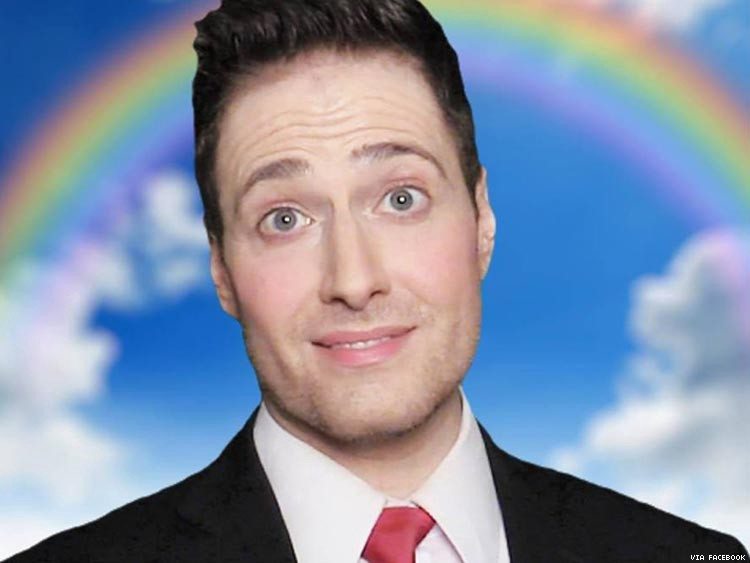 YouTube celebrity Randy Rainbow, posing with a photoshopped rainbow behind him.