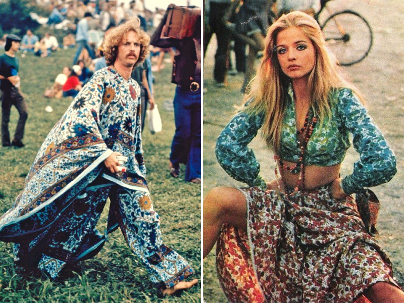 A man (left) wearing a bohemian tunic and flowy pants and a woman (right) in a long-sleeve crop top and a long, flowy skirt.