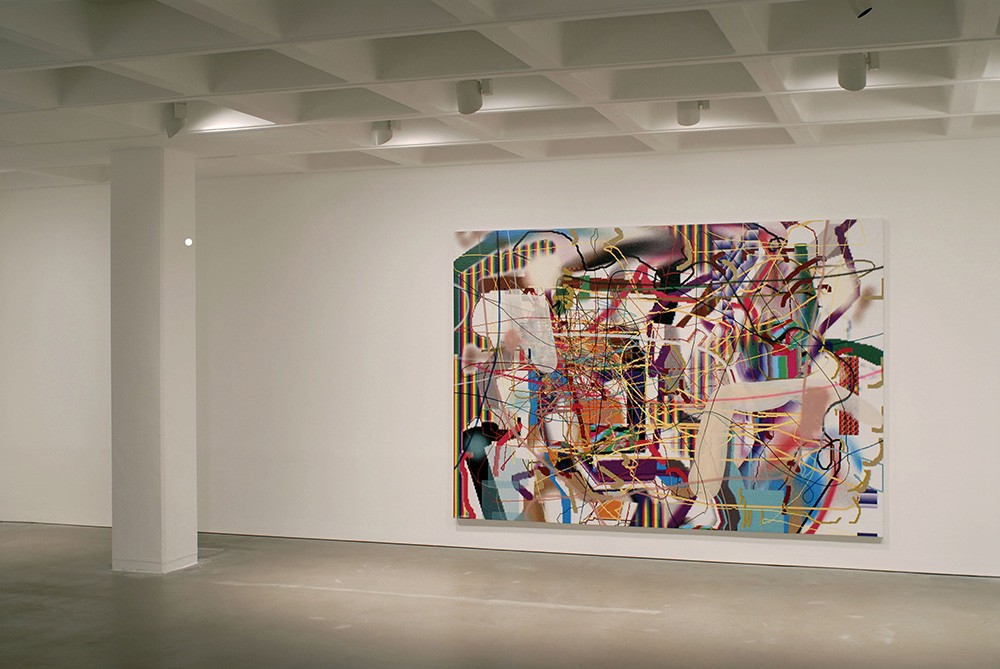 Installation view of a painting by Albert Oehlen. A very busy painting, with huge variety of colour and form.