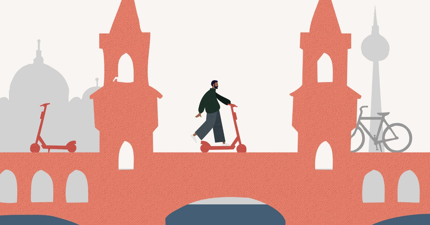 Stylised image of a scooter rider on a bridge.