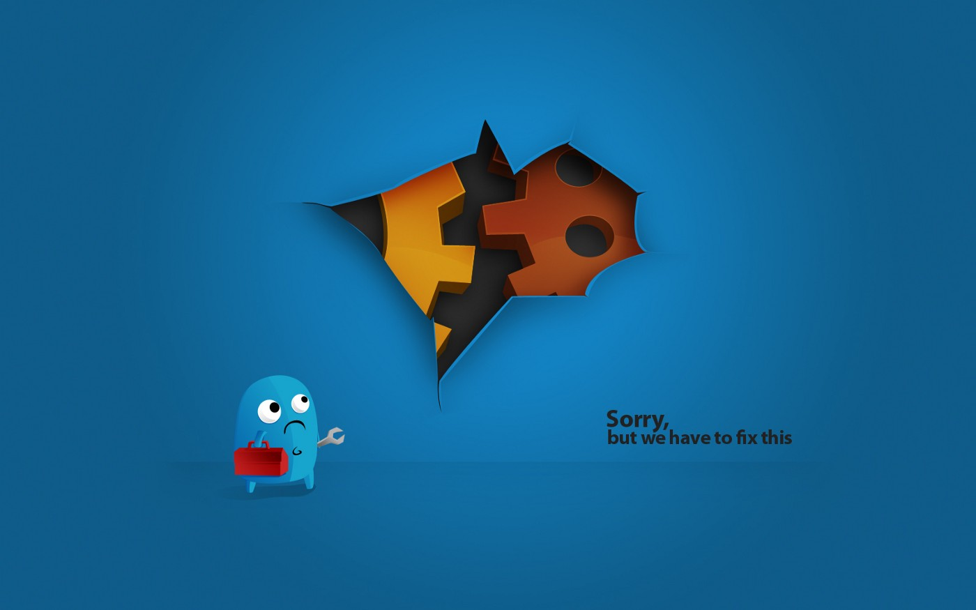 A little blue character with a repair kit looking at a hole in a website or app