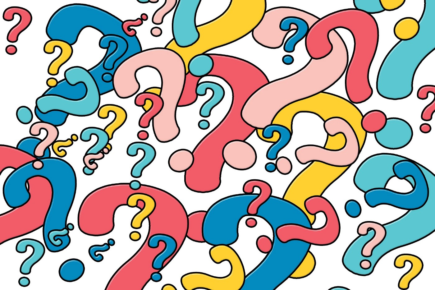 A screen full of differently colored question marks in dark blue, light blue, dark pink, light pink, and yellow.