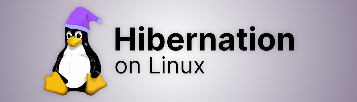 """Linux penguin """"Tux"""" wearing a sleeping cap, next to the text """"Hibernation on Linux"""""""