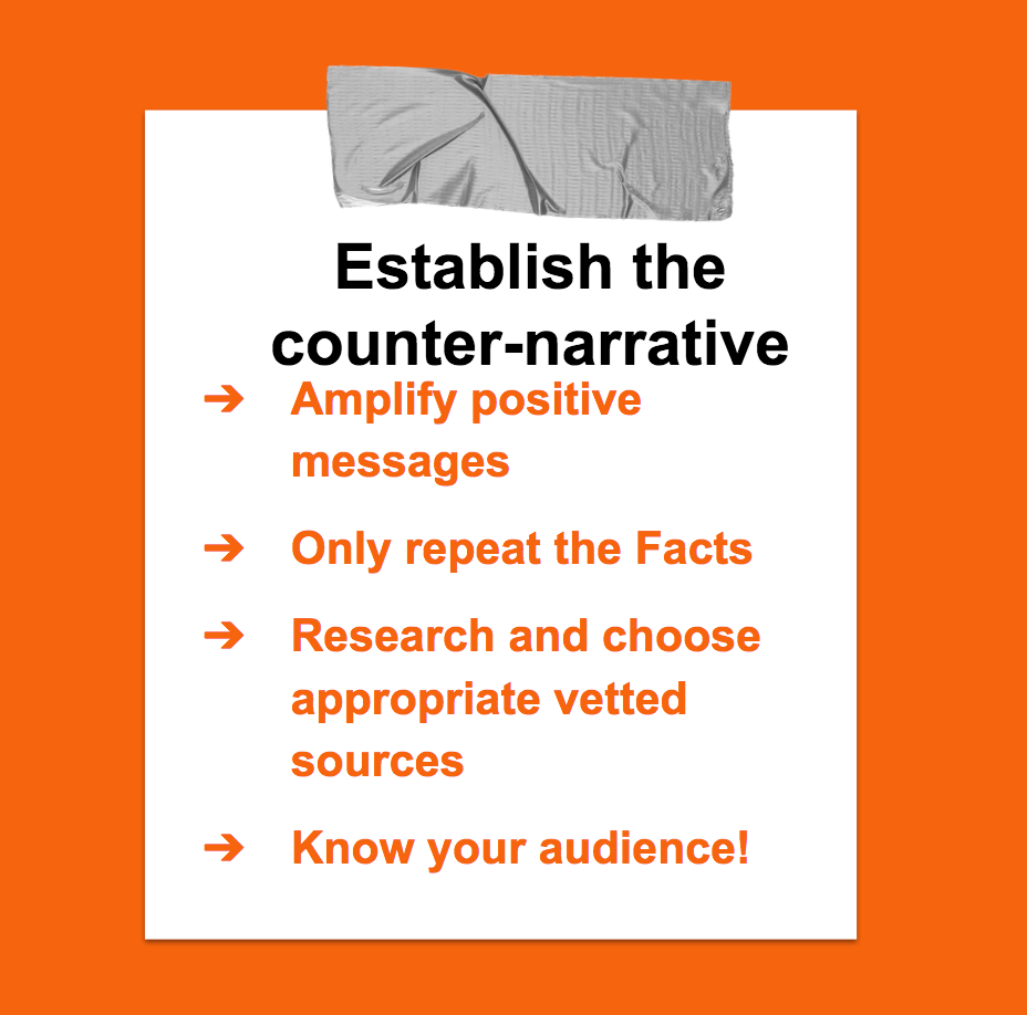 Establish the counter-narrative. Amplify positive messages. Only repeat the facts. Choose appropriate vetted sources.