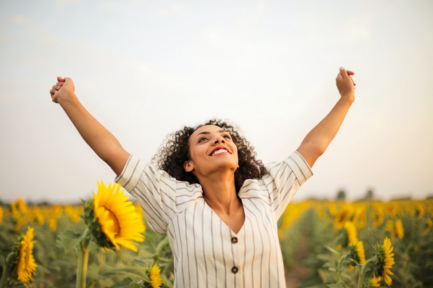 A woman raising her arms in a sunflower field