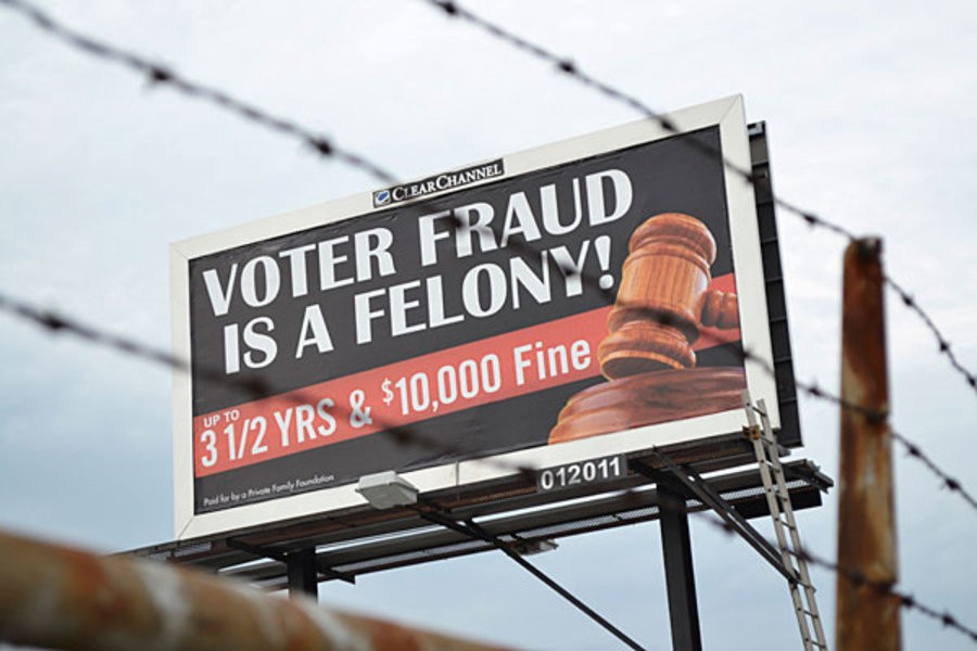 Voter suppression billboards found in predominantly black and brown neighborhoods.
