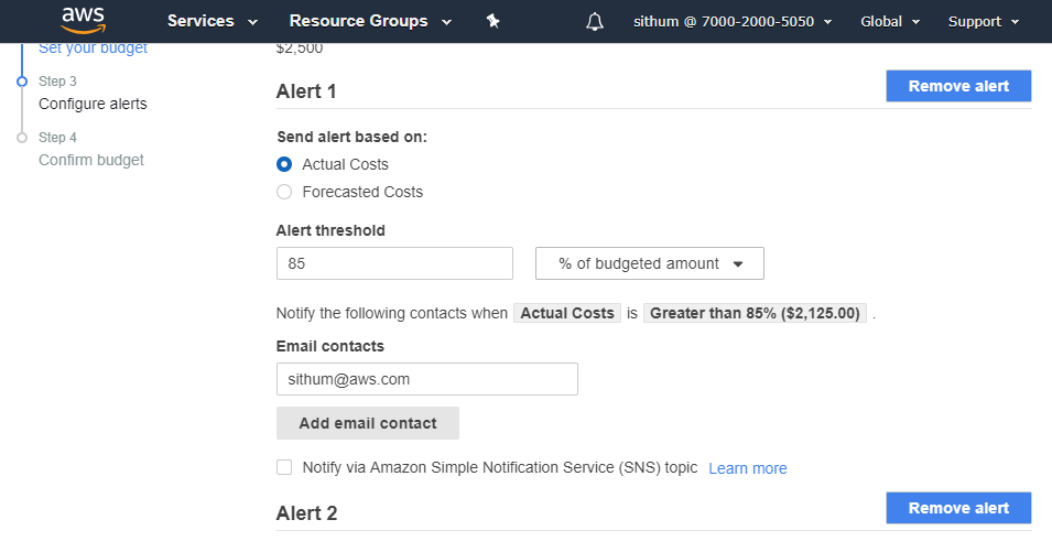 Billing alarms for AWS account  Cost management with budgets