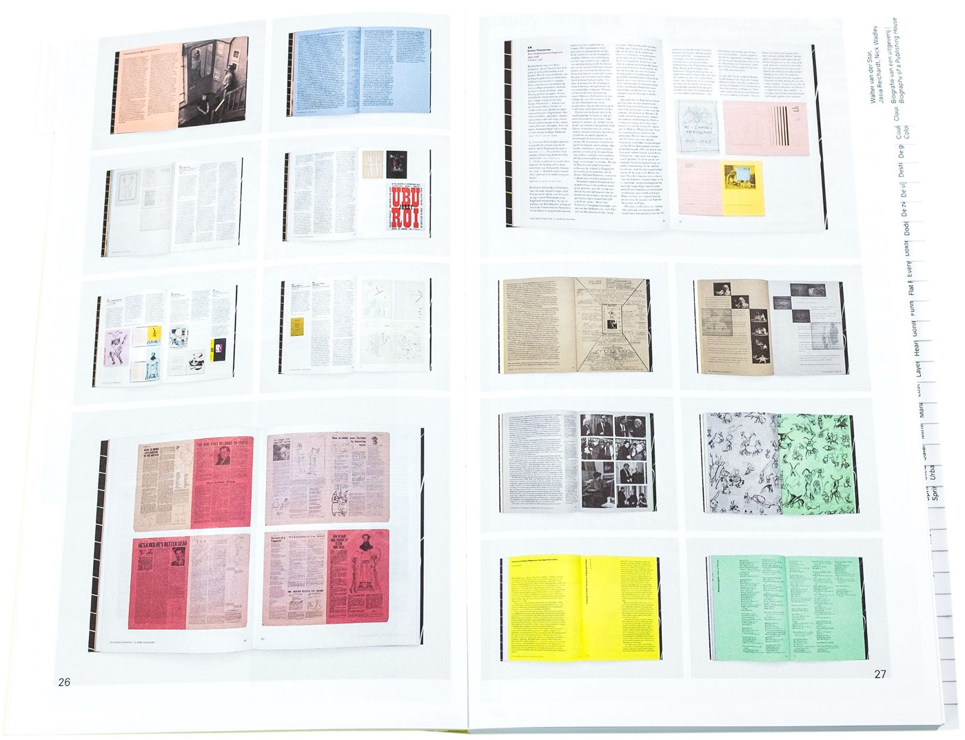 Photograph of a double page spread from inside, shows books photographed at smaller sizes over a double page spread