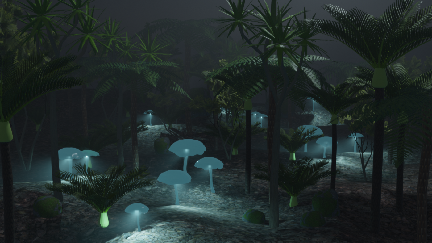 A 3D render of a forest at night with glowing mushrooms