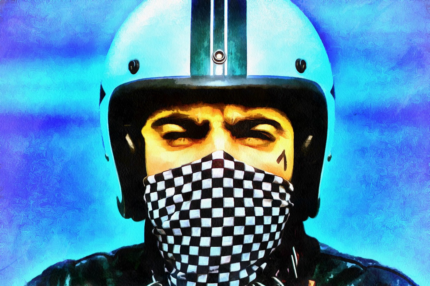 Man wearing motorcycle helmet and face mask