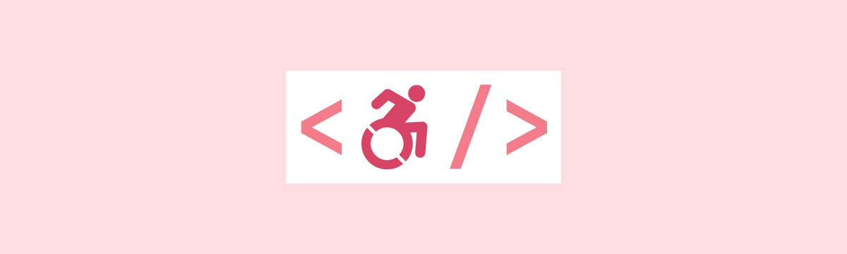 A simple graphic depicting the handicap symbol dynamically forward moving between two chevrons that evokes coding language