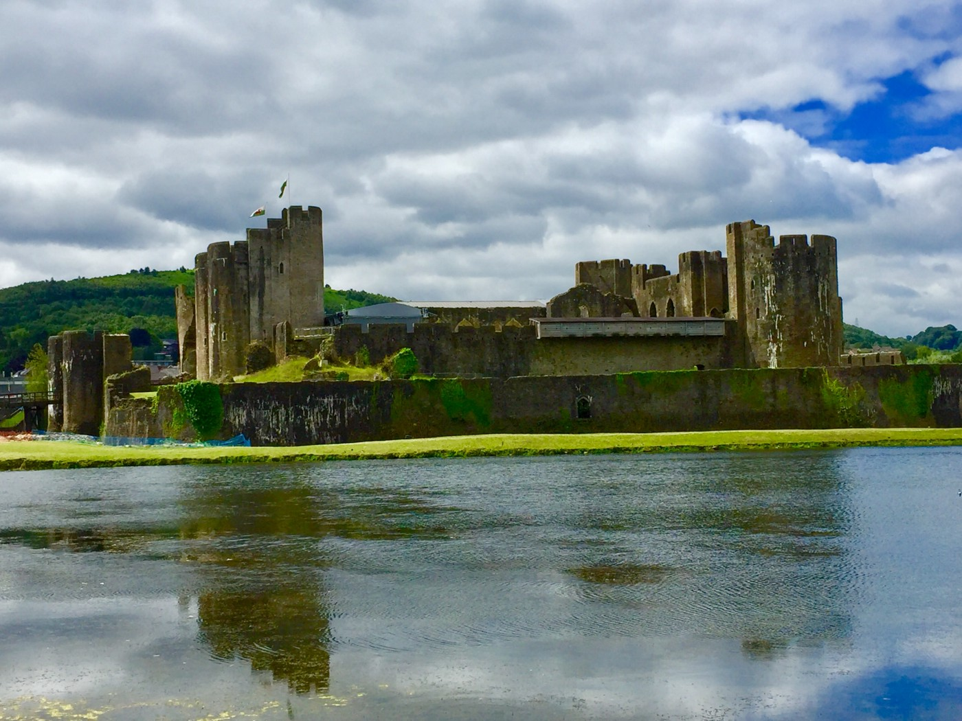 A castle with a very wide moat