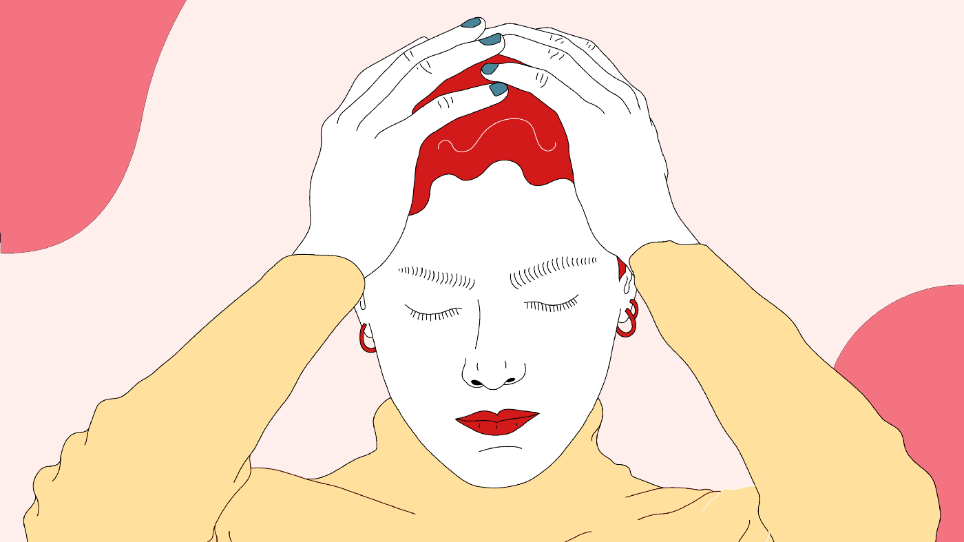 Illustration of a woman holding her head in despair.