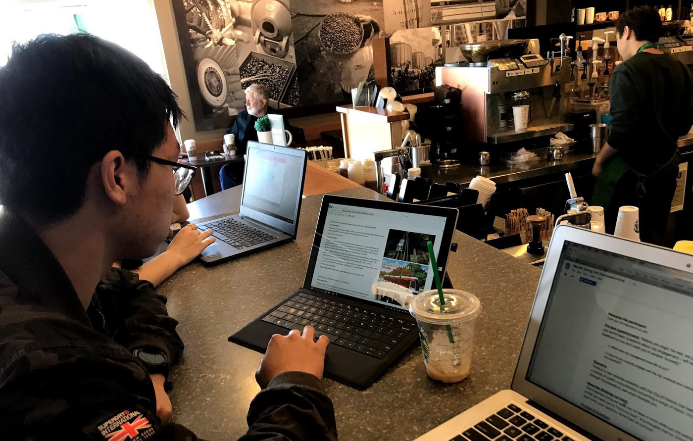 Taking one of our early-stage initiatives to the street at a busy coffee shop for feedback