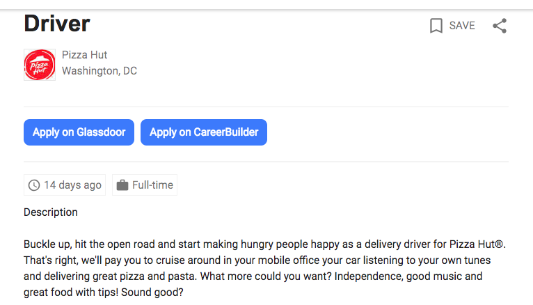 how much does a part time pizza delivery driver make