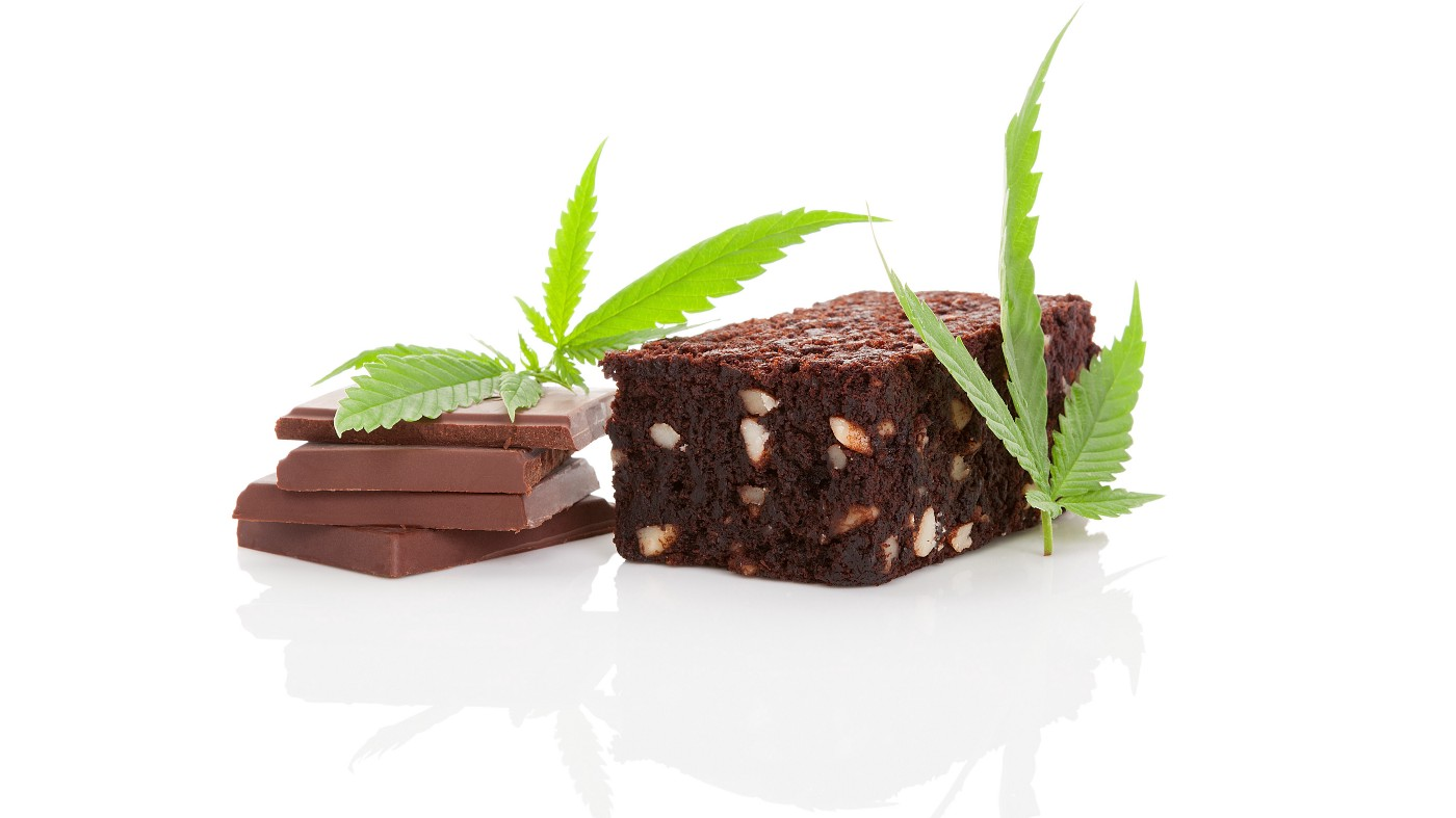 chocolate, brownies, and a marijuana leaves